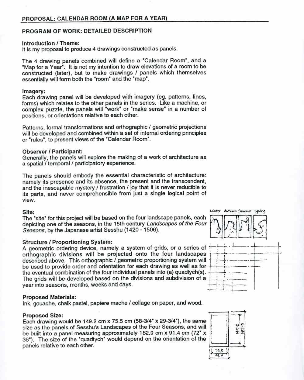 Proposal for Calendar Room, pg 1